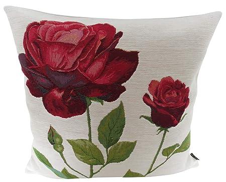Cojín almohada rosas rojas - - Cojín (Flores gobelino CA 48 ...