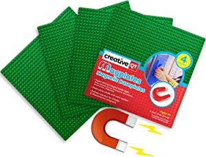 Creative QT MagPlates - Magnetic Building Brick Plates - Compatible with All Major Brands - 4 Pack - Green - 10 inch x 10 inch