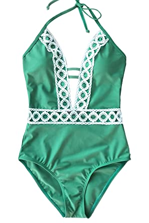 4b6d20fcc84 CUPSHE Women's Thick Forest Deep V Neck Halter One-Piece Swimsuit, Green,  Small