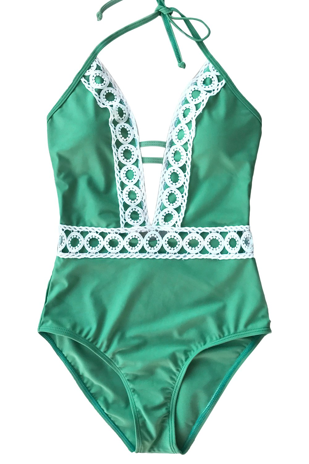 19b890ae2b8 CUPSHE Women's Thick Forest Deep V Neck Halter One-Piece Swimsuit, Green,  Large