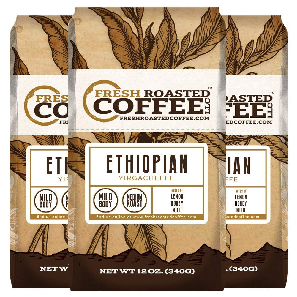 Ethiopian Yirgacheffe Coffee, 12 oz. Whole Bean Bags, Fresh Roasted Coffee LLC. (3 Pack) by FRESH ROASTED COFFEE LLC FRESHROASTEDCOFFEE.COM