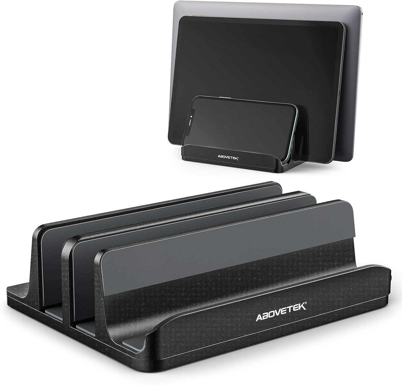 Vertical Laptop Stand - AboveTEK - 3 Slots for Computer, Tablet, Phone - Fits All Laptop Models (up to 17.3