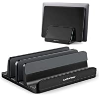 "Vertical Laptop Stand - AboveTEK - 3 Slots for Computer, Tablet, Phone - Fits All Laptop Models (up to 17.3"") - Heavy…"