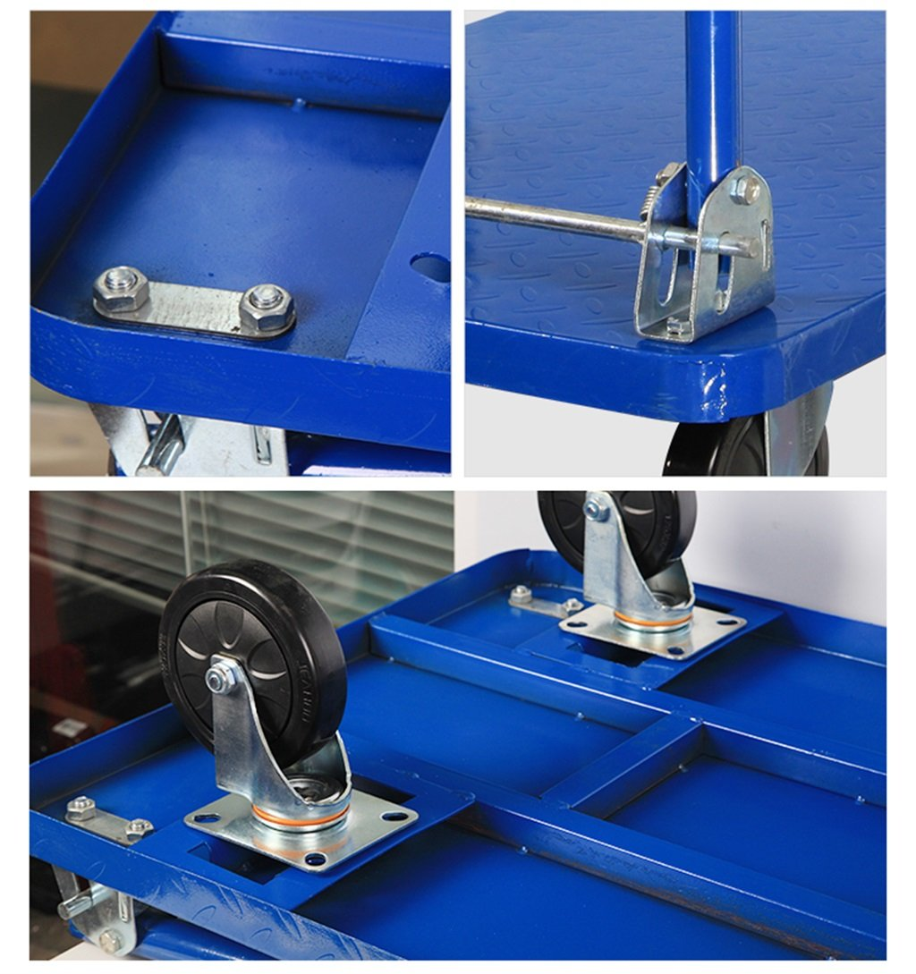 Color : Blue LIUSIXIAO-Shopping cart Fold Pull The Truck Carrying Tool Car Hand Truck Flatbed Truck Trolley Steel Body Warehouse Trucks Blue Load 300 Kg OYO