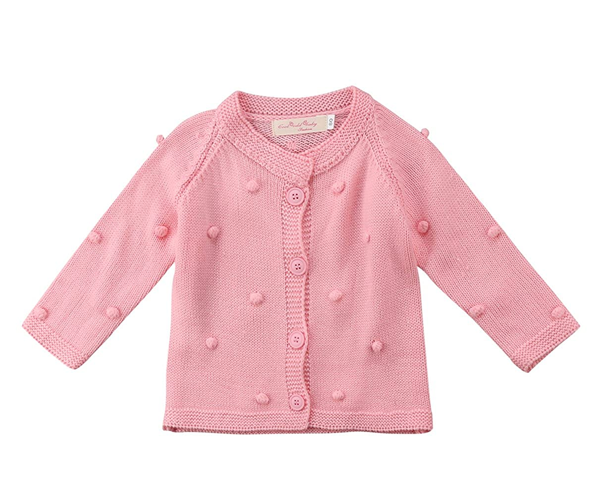 8f8a71020 Amazon.com  Kids Little Baby Girls Long Sleeve Pompom Buttons ...