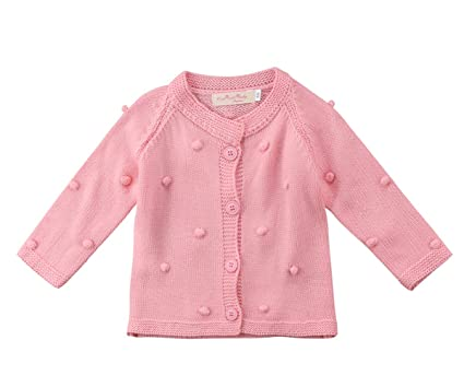 4547d9c186f6 Amazon.com  Kids Little Baby Girls Long Sleeve Pompom Buttons ...