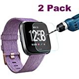 Fitbit Versa Screen Protector, [2 Pack]ZAOX Waterproof Tempered Glass Screen Protector Film for Fitbit Versa Smartwatch, [9H Hardness] [Crystal Clear] [Scratch Resist] [No-Bubble]