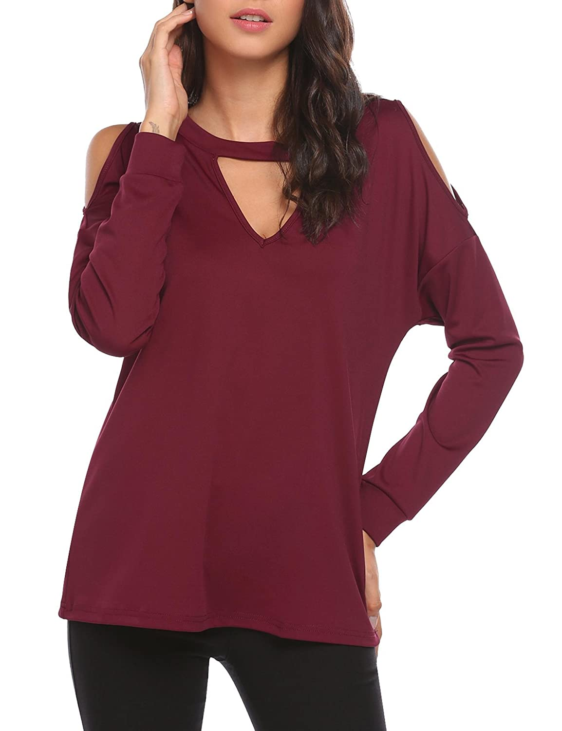 41529b89856a7 ThinIce Women s Cold Shoulder Long Sleeve Shirt Choker V Neck Casual Tops  S-XL at Amazon Women s Clothing store