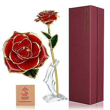 Cadeau De Fleur Rose Rouge Pour Elle Fleur Rose Plaquee En Or 24k
