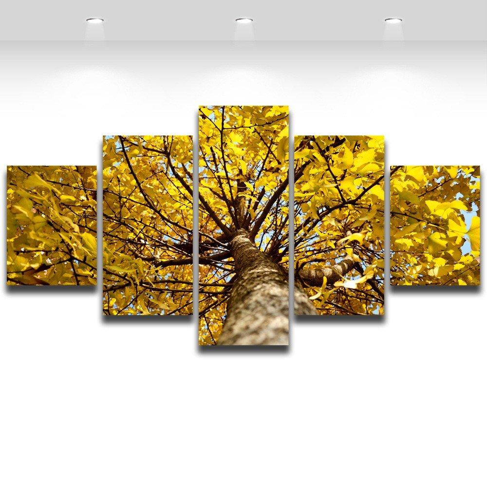 Amazon.com: 5 Panel Painting Ginkgo Yellow Tree Canvas Prints Wall ...