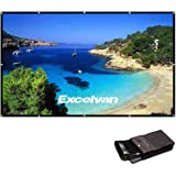 Excelvan 120 Inch 16:9 Collapsible PVC HD Portable Home and Outdoor Projector Screen with Hanging Hole for Front Projection
