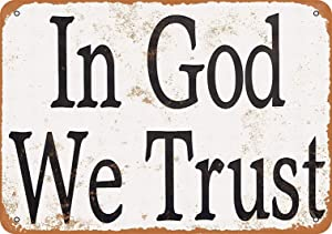 LoMall 12 x 16 Metal Sign - in God We Trust - Vintage Wall Decor Art