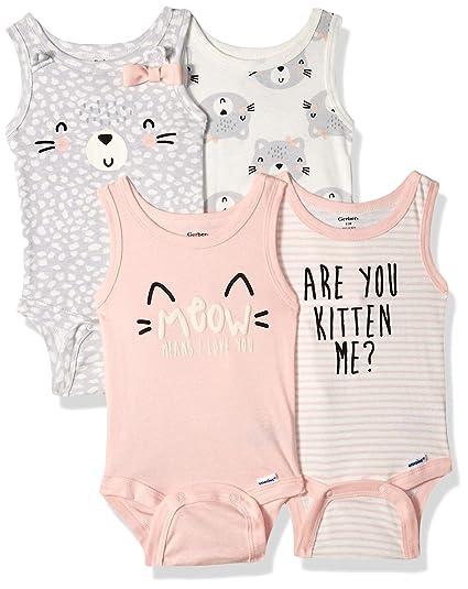900d4233e Amazon.com  Gerber Baby Girls 4-Pack Sleeveless Onesies Bodysuit ...