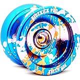 Blue Silver Gold Splashes Yo-Yo Professional Aluminum Sidekick Pro YoYo