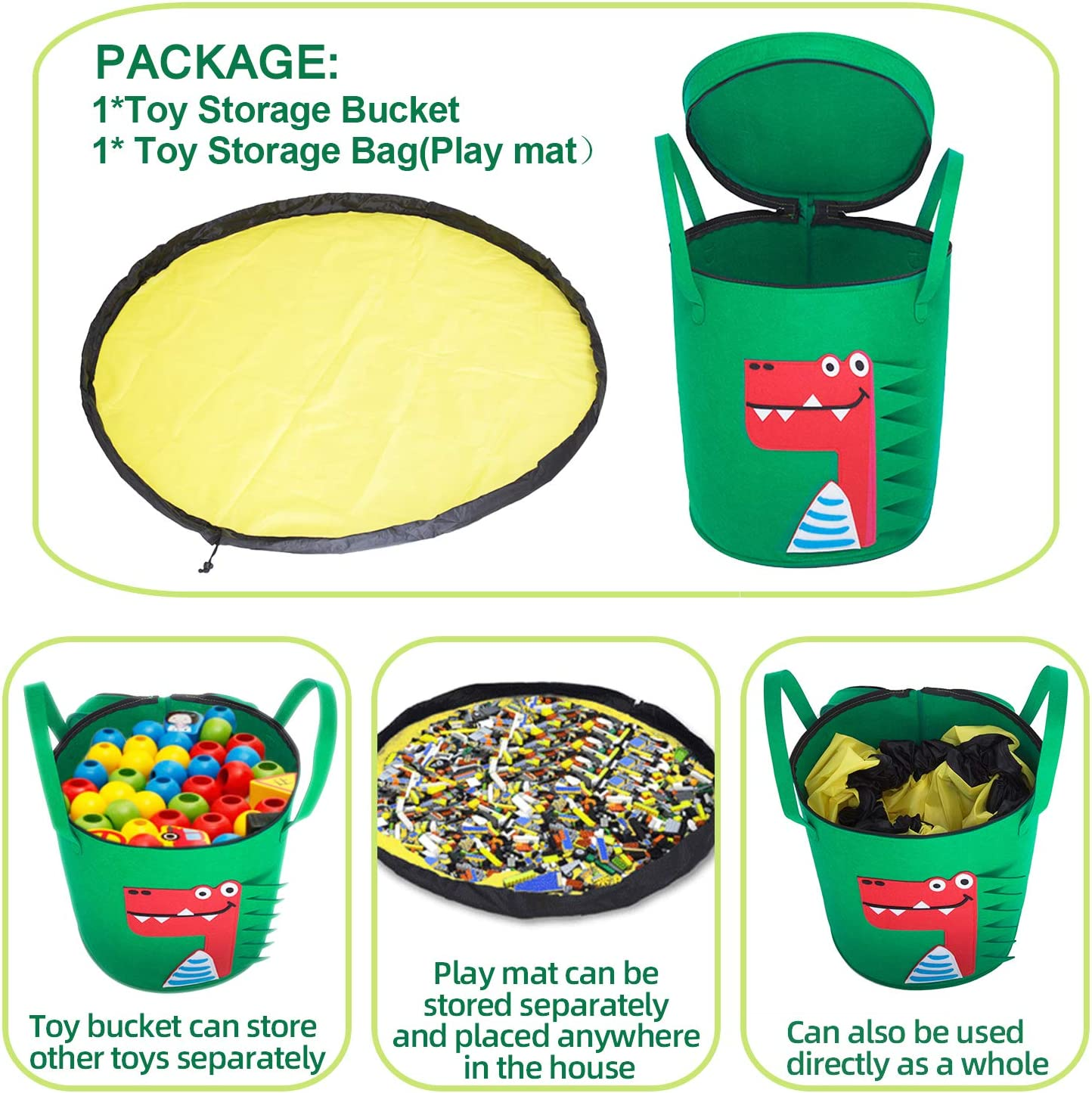 Large Capacity Toy Storage for Kids Room Classroom Toy Organizer Poemyoued Toy Storage Basket and Play Mat,Collapsible Cartoon Crocodile Felt Bucket,Outdoor Toy Quick Storage Bag