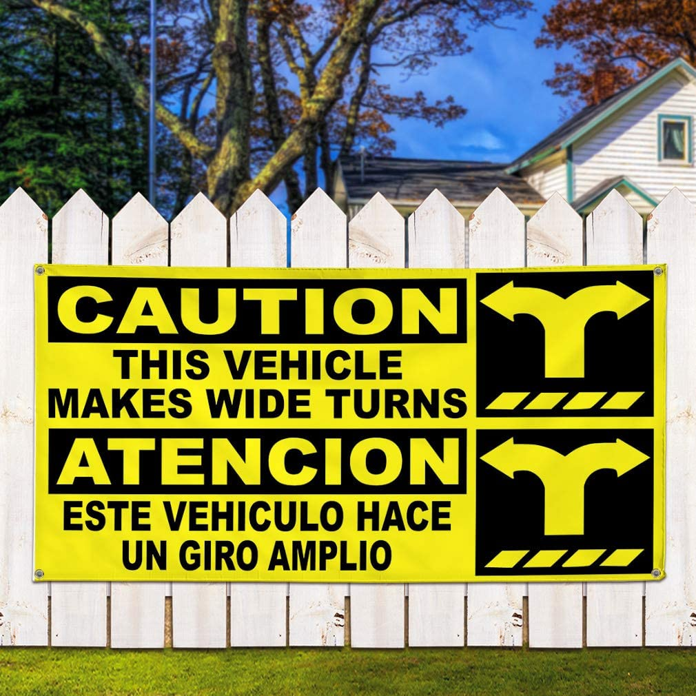 32inx80in Multiple Sizes Available 6 Grommets Set of 2 Vinyl Banner Sign Caution This Vehicle Yellow Black Outdoor Marketing Advertising Yellow