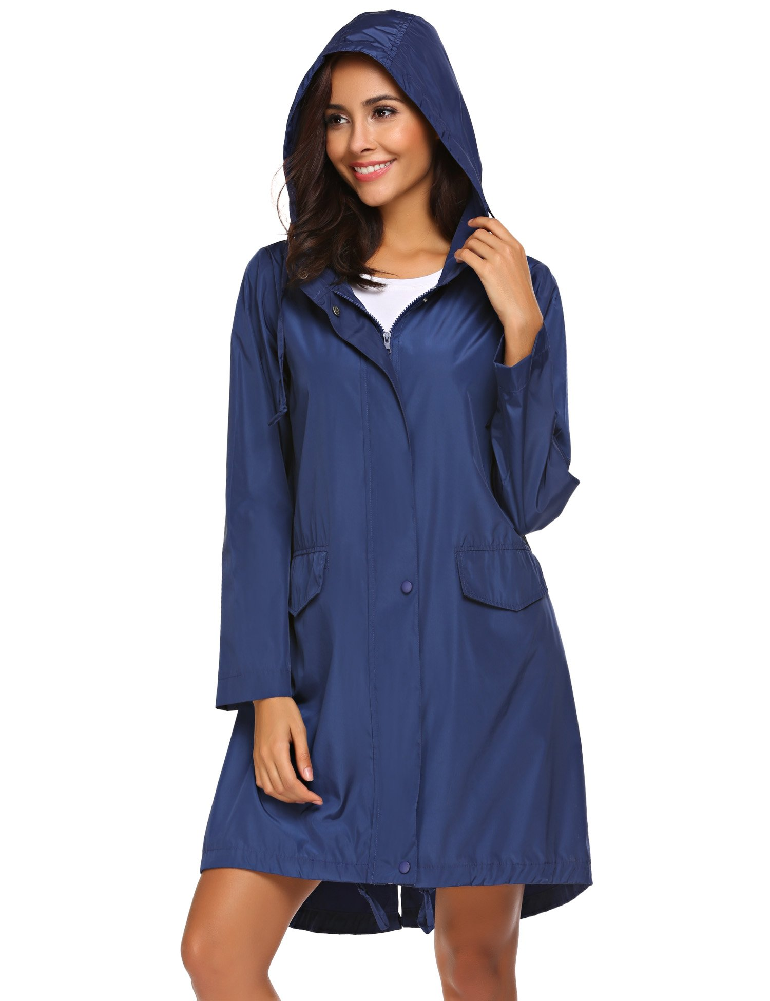 SoTeer Women Lightweight Windbreaker Waterproof Long Rain Hooded Jacket with Drawstring (Navy Blue XL) by SoTeer