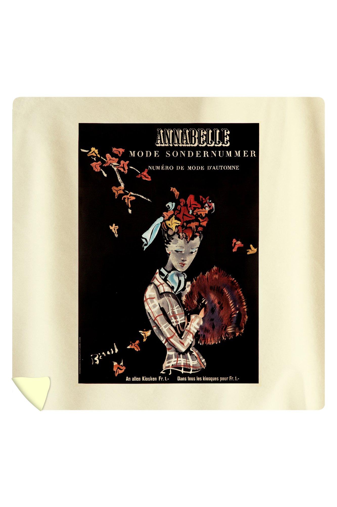 Annabelle Vintage Poster (artist: Christian Berand) Switzerland c. 1942 (88x88 Queen Microfiber Duvet Cover)