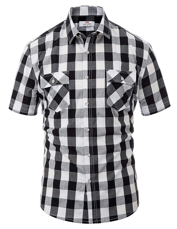 Paul Jones Mens Western Plaid Checked Shirt Button Down Casual Shirt