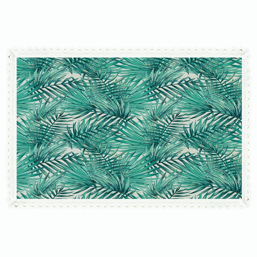"""Leaf,Rectangle Polyester Linen Tablecloth/Fresh Tropical Exotic Island Palm Tree Leaves in Jungle Abstract Watercolor Decorative/for Dinner Kitchen Home Décor,60""""x84"""",Light Blue and Green"""