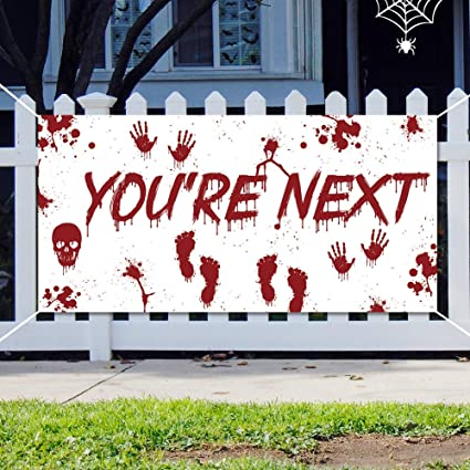 Amazon.com: Cartel de Halloween con sangre para decoración ...