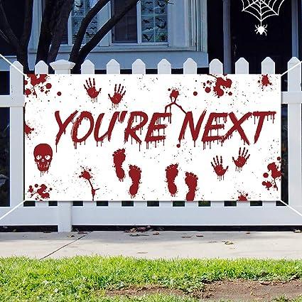 Amazon.com: Cartel de Halloween con sangre para decoración ...