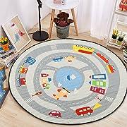 Round Kids' Room Rug,Lego Toys Storage Organizer Play Bag,Cotton Anti-slip Cartoon Animal Children's Floor Play Game Mat with Drawstring for Kids Room, 59x59 Inch (Car)