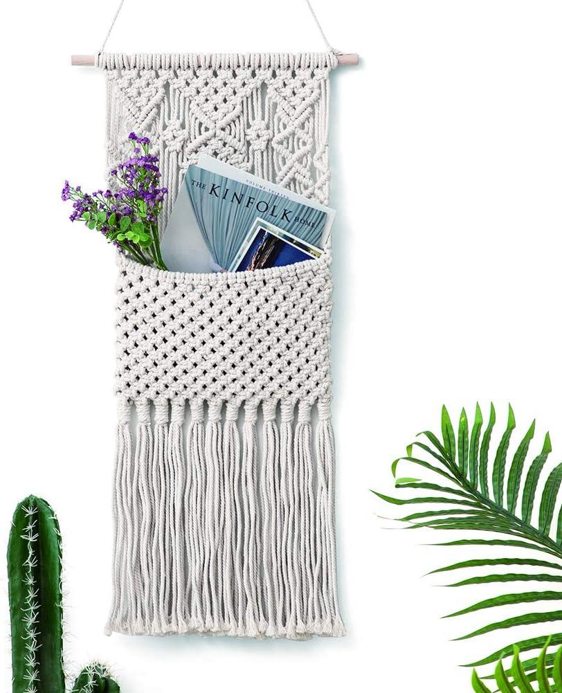 OAKEER Macrame Magazine Storage Organizer Flowers Collection Mail Holder Cotton Woven Hanging Pocket Boho Wall Decor Art,14.2