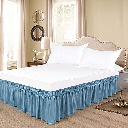 Light Blue Bed Skirt.Amazon Com Thesignature Light Blue Wrap Around Bed Skirt