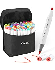 Art Markers Set, Ohuhu Dual Tip, Brush & Chisel, Sketch Marker for Kids, Artist, Students, Alcohol Brush Markers for Sketching, Adult Coloring, Calligraphy and Illustration
