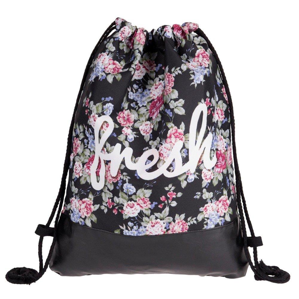 Amazon.com | Flowers Fresh Printing Leather Bottom Backpack Women 2018 Summer Leisure Bag Drawstring Bag | Drawstring Bags