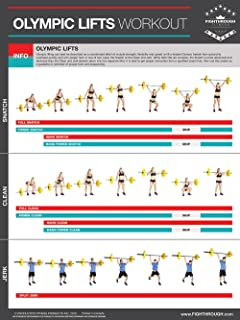 Olympic Lifts - Laminated Poster Lifting Poster / Chart For - Strength & Cardio Training -