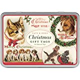 Cavallini Papers Glitter Gift Tags Christmas Cats and Dogs Assorted Gift Tags Packaged in a Tin, Set of 36