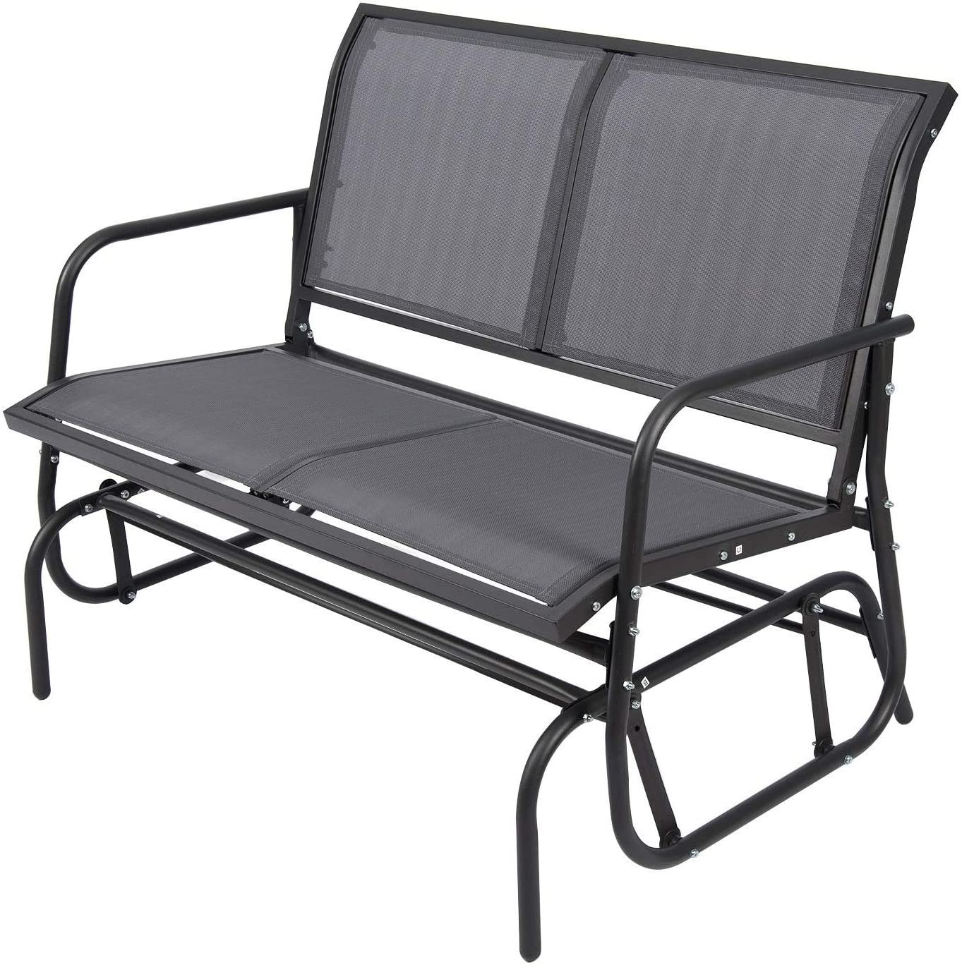Outdoor Glider Chair for 2 Person, Patio Swing Garden Loveseat, Rocking Seating Textilene Stable Steel Frame Dark Grey