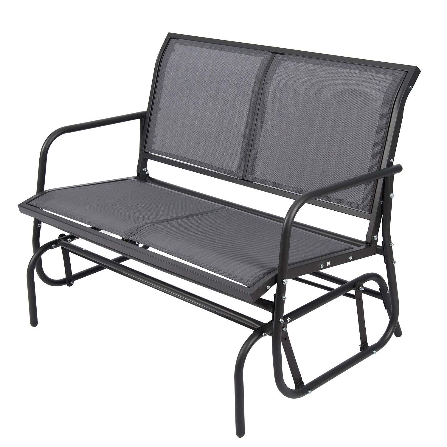 ELECWISH Outdoor Glider Chair for 2 Person, Patio Swing Garden Loveseat, Rocking Seating Textilene & Stable Steel Frame (Dark Grey) by ELECWISH