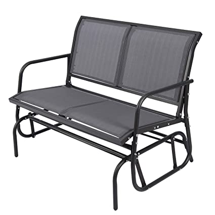 Astonishing Outdoor Glider Chair For 2 Person Patio Swing Garden Loveseat Rocking Seating Textilene Stable Steel Frame Dark Grey Spiritservingveterans Wood Chair Design Ideas Spiritservingveteransorg