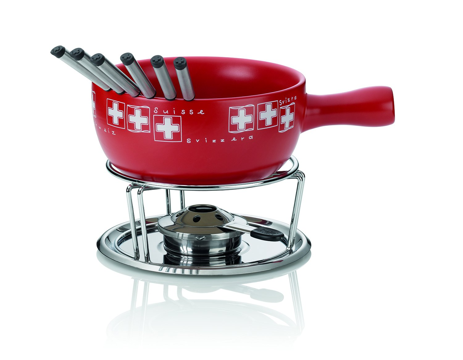 Kela ''Bern'' Cheese Fondue Set With Pan, Ceramic, Red/White, 10-Piece