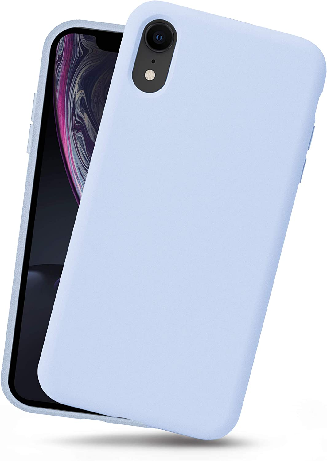 OCOMMO iPhone XR Silicone Case, Full Body Shockproof Protective Liquid Silicone XR Cases with Soft Microfiber Lining, Wireless Charge Pad Compatible, Sky Blue