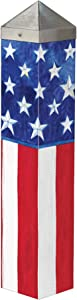 Studio M Stars and Stripes Forever Art Pole Patriotic American Flag Outdoor Decorative Garden Post, Made in USA, 20 Inches Tall