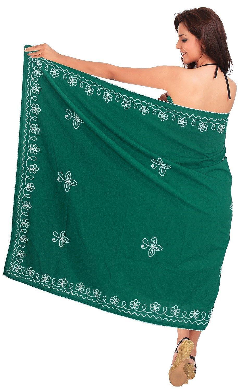 La Leela Rayon Stickerei grün 5 in einem Bademode / Badeanzug vertuschen / Tunika / sundress / Bikini Schlitz Rock / Damen Pareo / plus Größe Badeanzug Sarong langes Kleid 198x99 cm wickeln