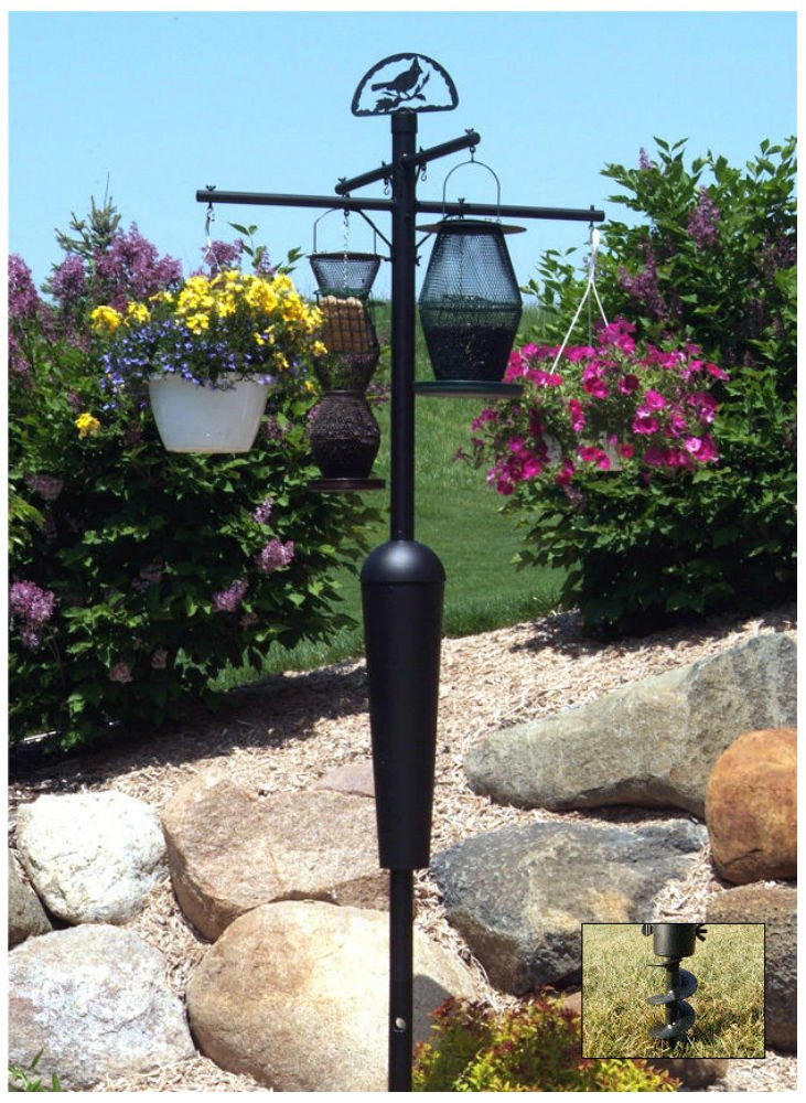 Squirrel Stopper DELUXE Black Bird feeder Pole set w Baffle Squirrel proof