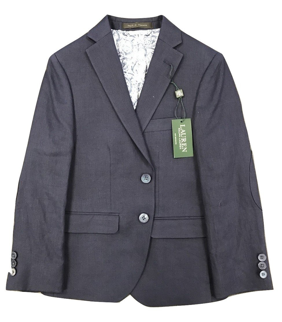 RALPH LAUREN Polo Linen Blazer Boys 8-20 (Navy, 16)