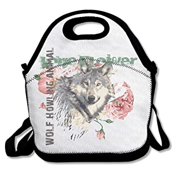 Lone flor lobo aullando animalfs caja tienda almuerzo caja ajustable correa - bolsa para el almuerzo: Amazon.es: Hogar