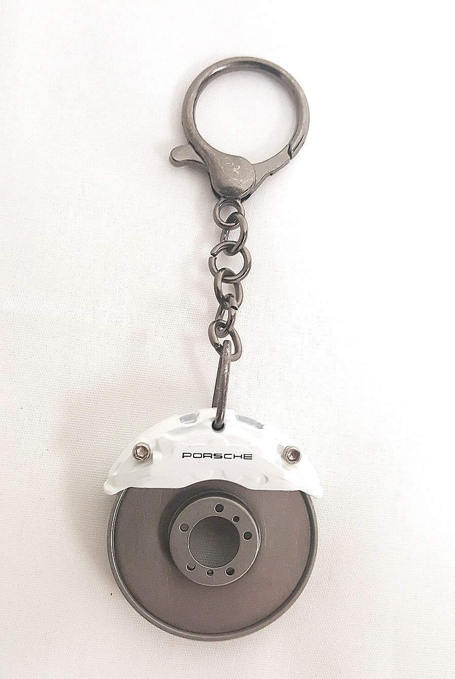 White Porsche Brake Disc Keychain