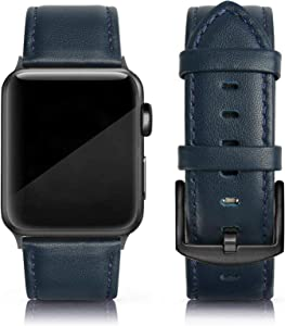 EDIMENS Leather Bands Compatible with Apple Watch 42mm 44mm Band Men Women, Vintage Genuine Leather Wristband Replacement Band Compatible for Apple Watch iwatch Series 6 5 4 3 2 1, SE Sports & Edition, Retro Yale Blue