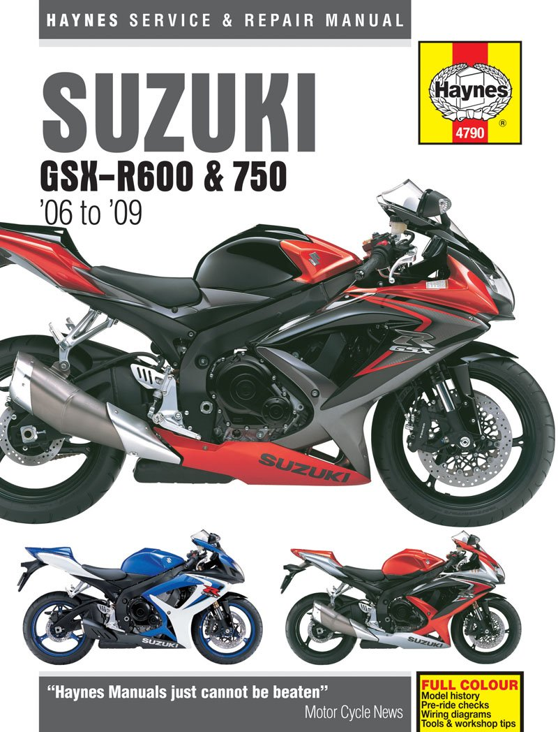 Amazon.com: 2006-2009 Suzuki GSXR600 GSXR750 GSXR 600 750 HAYNES REPAIR  MANUAL 4790: Automotive