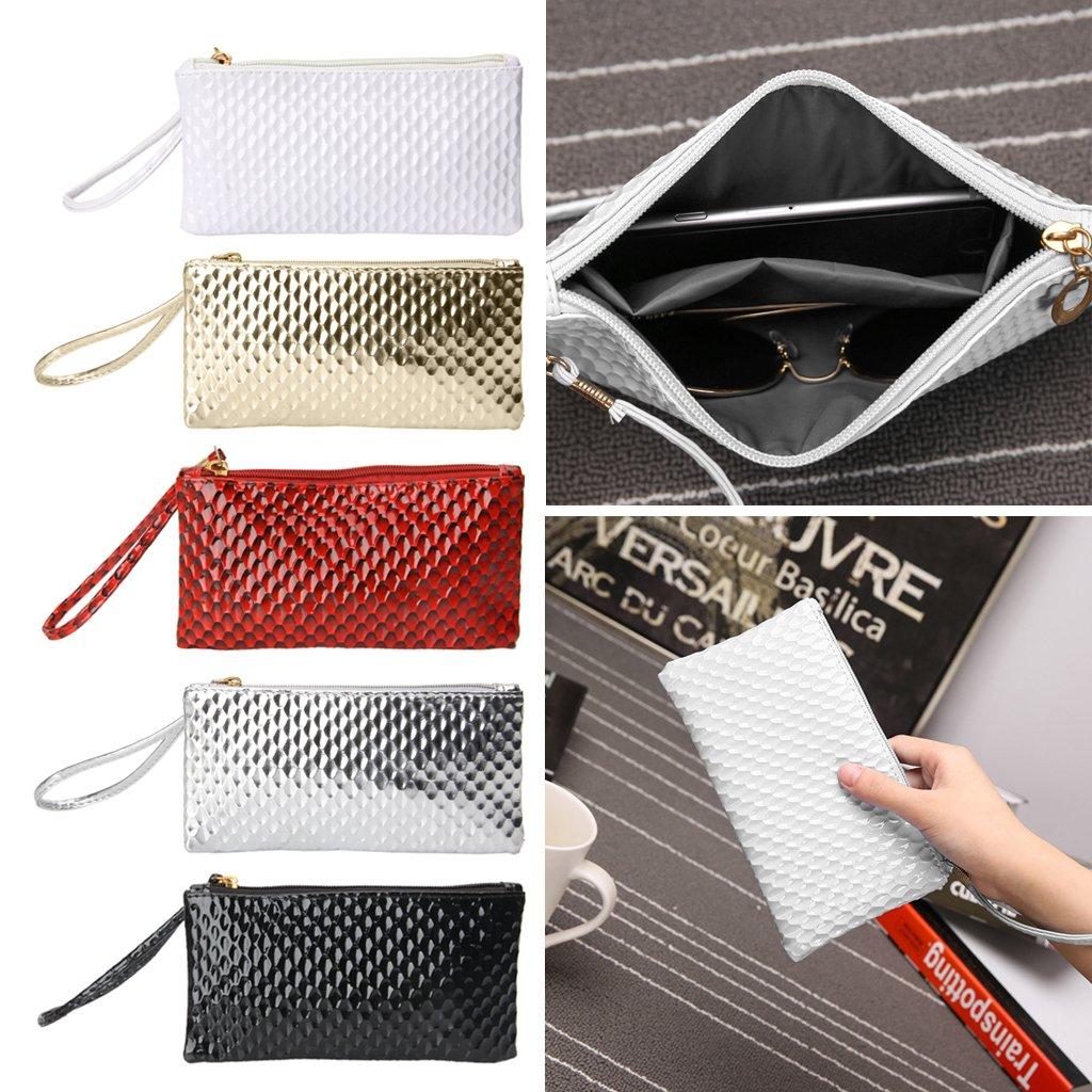 SimpleLif Leather Envelope Clutch Bag,Evening Shoulder Bag, Messenger Phone Bag for Bridal Wedding Handbag Prom Bag by SimpleLif (Image #2)