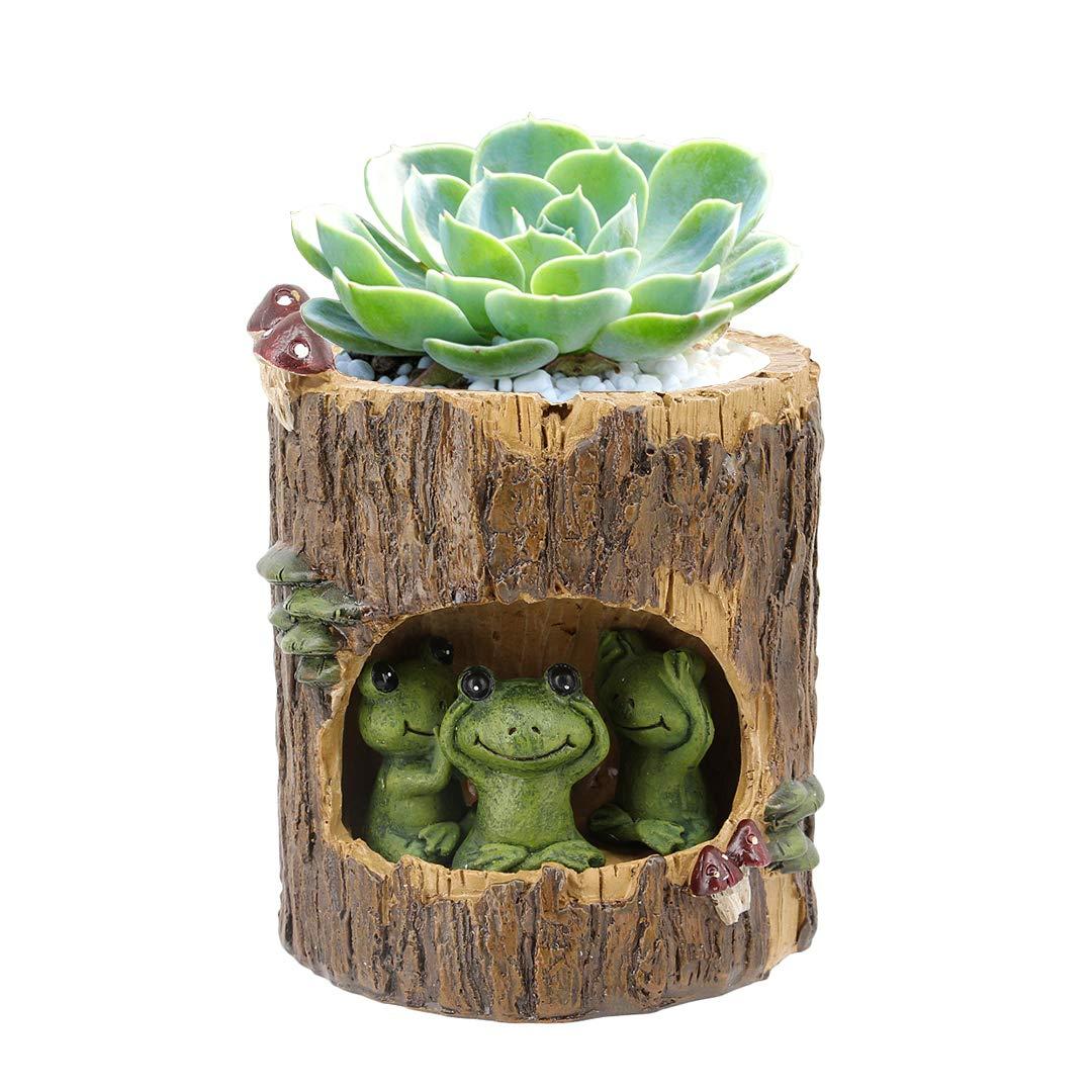 Segreto Creative Plants Flower Pots Brush Pots Ornaments for Succulent Plants Pot Decorated Desk,Garden,Living Room with Sweet Hedgehog Family La moriposa