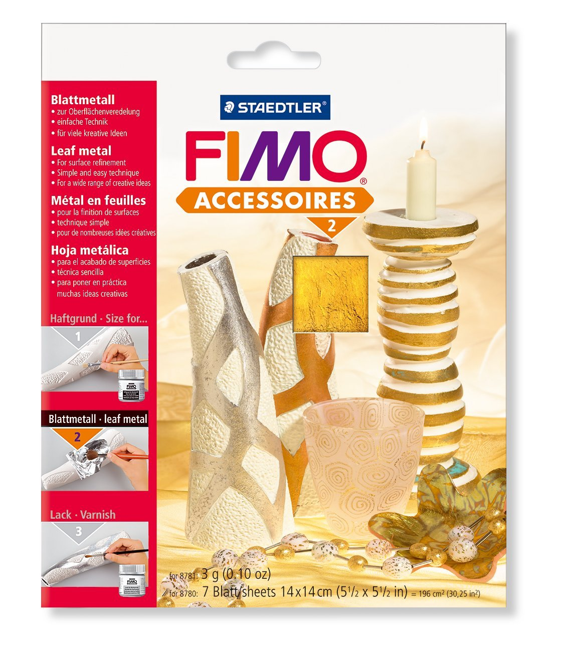 FIMO Blattmetall, 140 x 140 mm, gold 2152331