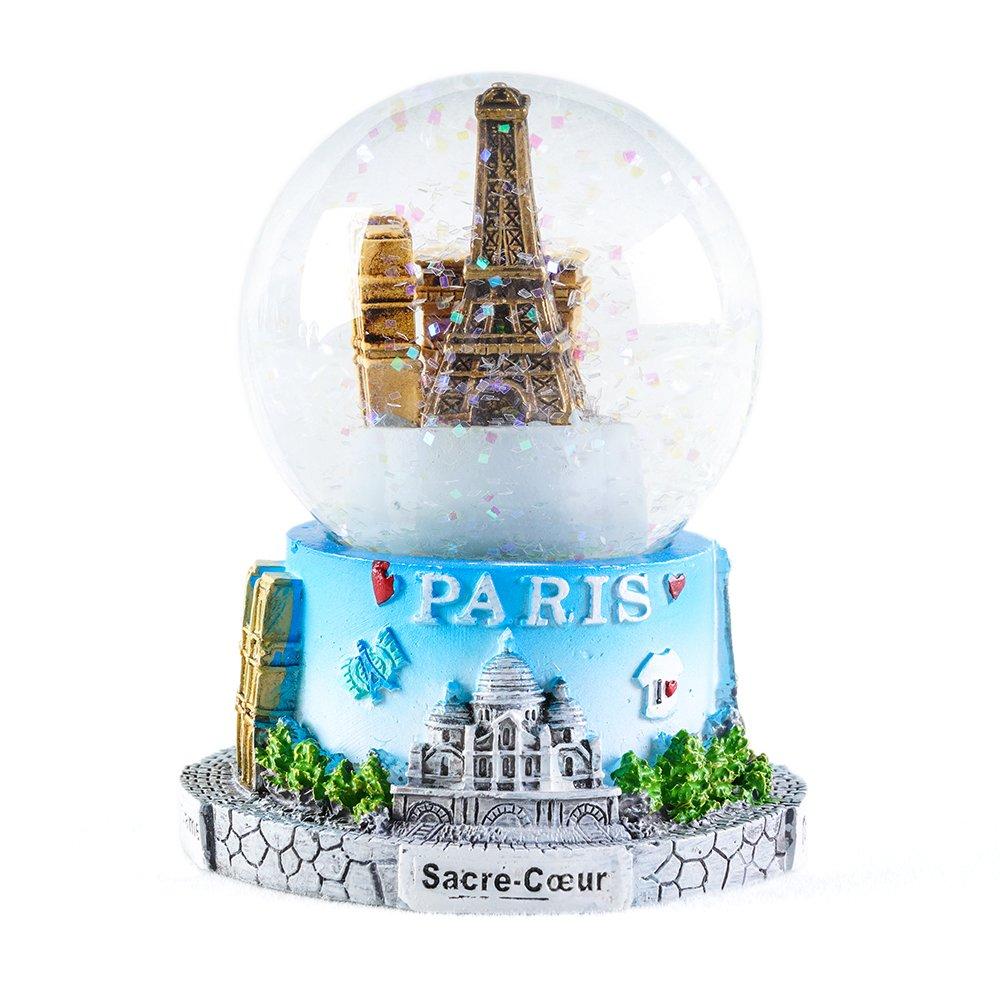 WOBAOS Snow Globe crafts- Sculptured Resin Water Ball - Christmas Valentine's day birthday holiday new year's gift (Diameter 60mm-80mm) (Diameter 65mm, PARIS)